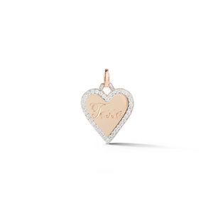 DORA 18K ROSE GOLD AND ALL DIAMOND EDGE HEART CHARM