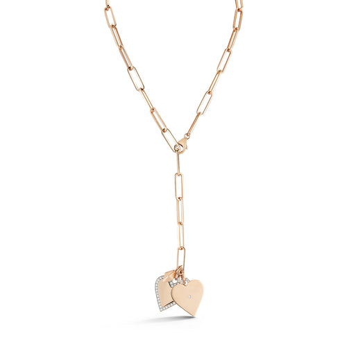 18K GOLD AND DIAMOND HEART CHARM NECKLACE