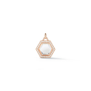 BELL 18K DIAMOND & ROCK CRYSTAL HEXAGON CHARM