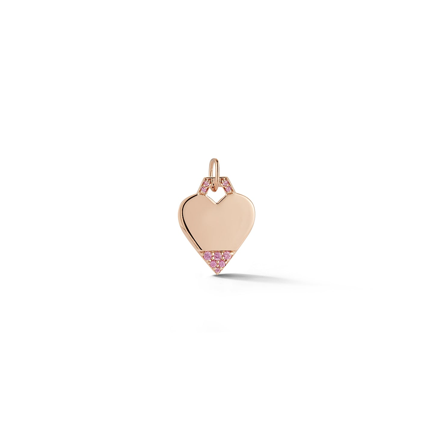 DORA 18K ROSE GOLD AND 1/3 PINK SAPPHIRE BOTTOM MINI HEART CHARM
