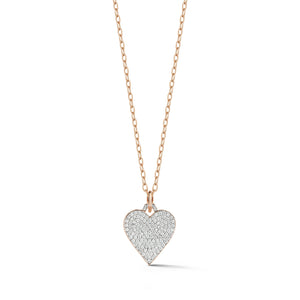 DORA 18K ROSE GOLD ALL DIAMOND HEART CHARM