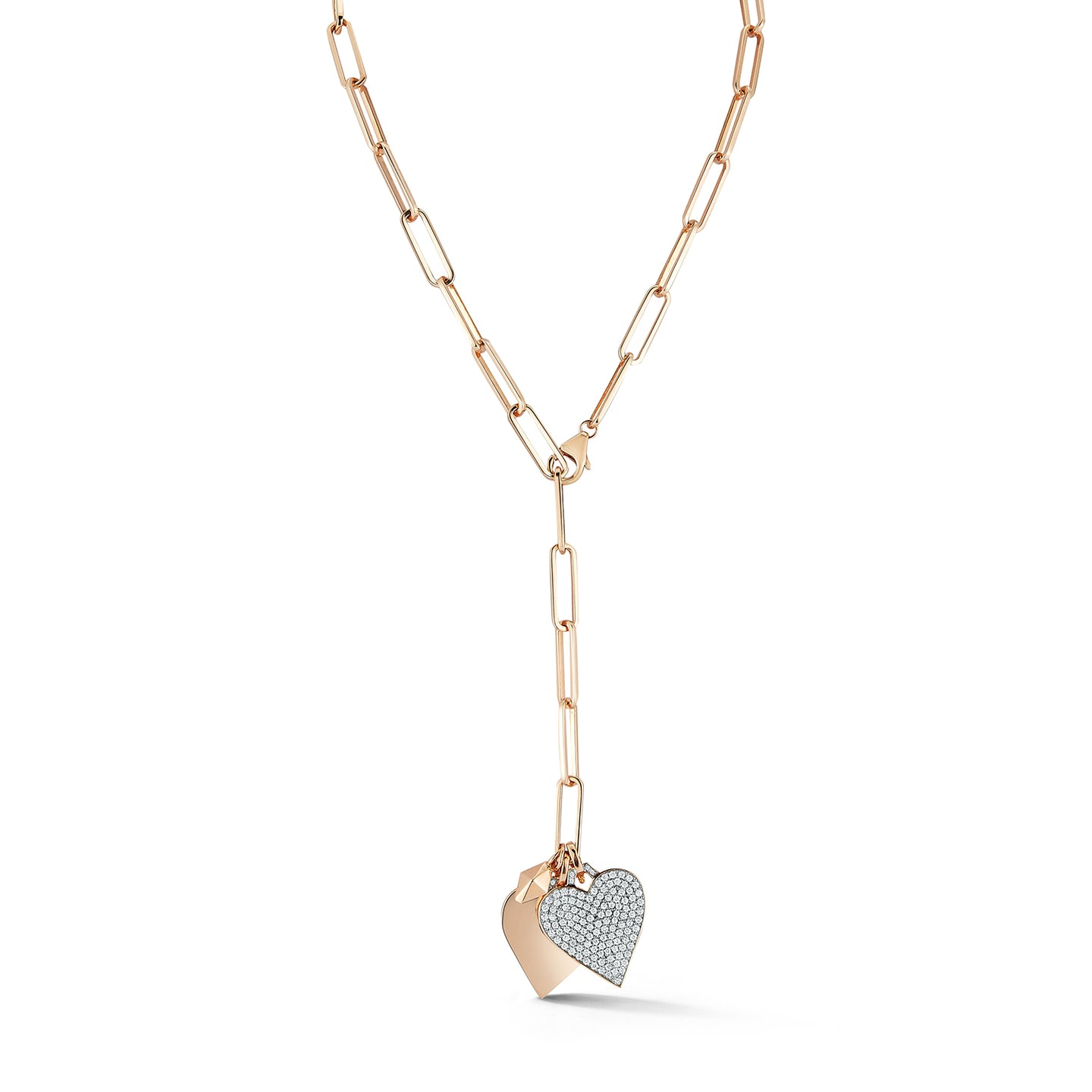 18K GOLD AND ALL DIAMOND HEART CHARM NECKLACE