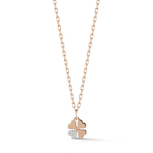 DORA 18K ROSE GOLD MINI CLOVER WITH ONE DIAMOND LEAF
