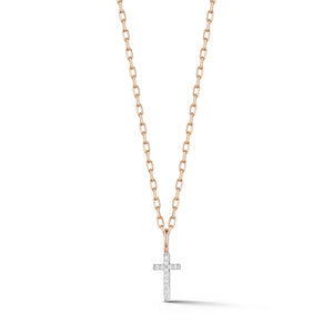 DORA 18K ROSE GOLD ALL DIAMOND MINI CROSS