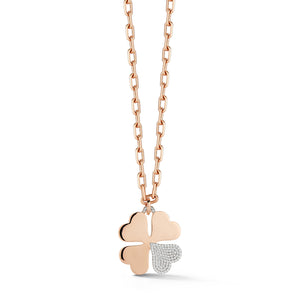 DORA 18K ROSE GOLD AND ONE DIAMOND CORNER LARGE CLOVER CHARM