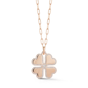 DORA 18K ROSE GOLD AND DIAMOND BORDER LARGE CLOVER CHARM