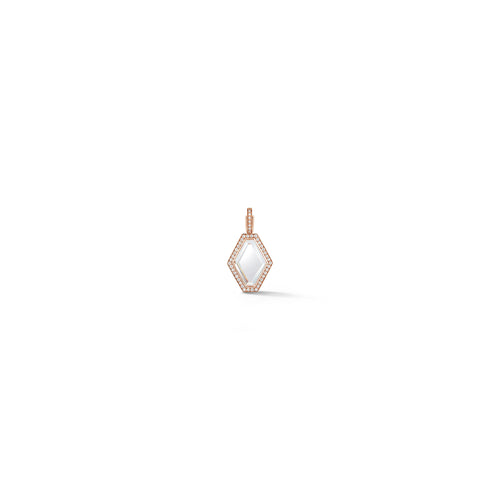 BELL 18K ROSE GOLD, DIAMOND AND ROCK CRYSTAL MINI HEXAGON CHARM