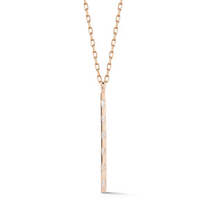 OTTOLINE 18K ROSE GOLD AND BAGUETTE DIAMOND BAR CHARM