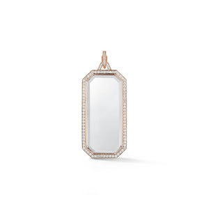 BELL 18K DIAMOND ROCK CRYSTAL RECTANGULAR TABLET CHARM