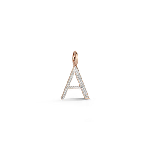 WOOLF 18K ROSE GOLD AND DIAMOND INITIAL AND NUMBER CHARMS