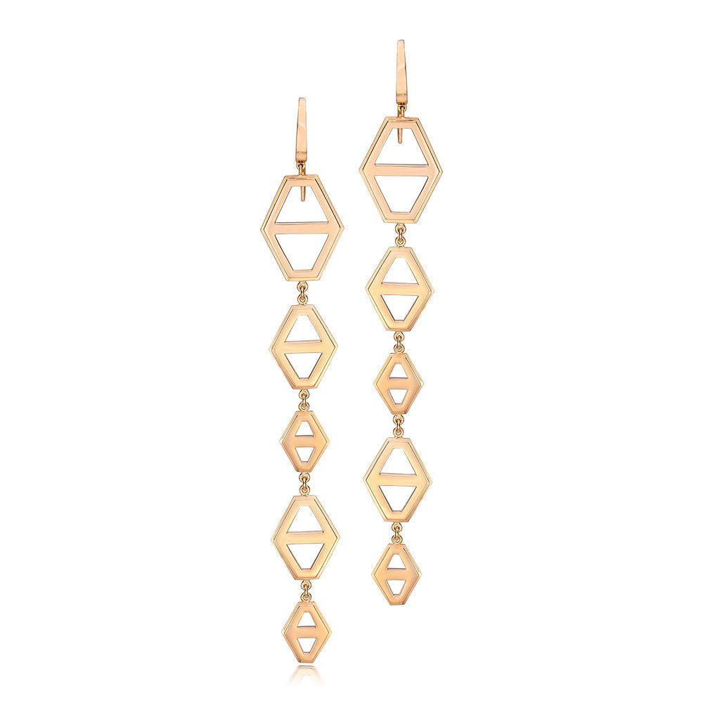 KEYNES 18K FIVE DROP SIGNATURE HEXAGON EARRING