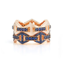 KEYNES 18K ALL SAPPHIRE SIGNATURE HEXAGON STACKABLE RING