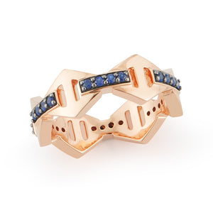 KEYNES 18K SIGNATURE SAPPHIRE BAR HEXAGON STACKABLE RING