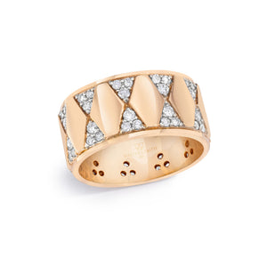 QUENTIN 18K DIAMOND HEXAGON PATTERN CIGAR BAND