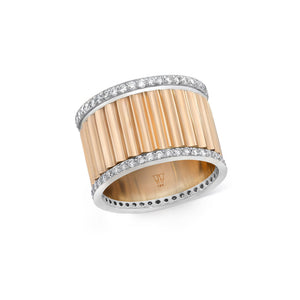 CLIVE 18K TWO TONE 15MM DIAMOND FLUTED BAND RING