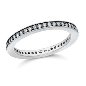 GRANT 18K WHITE GOLD AND BLACK RHODIUM DIAMOND 2MM CUBED BAND RING