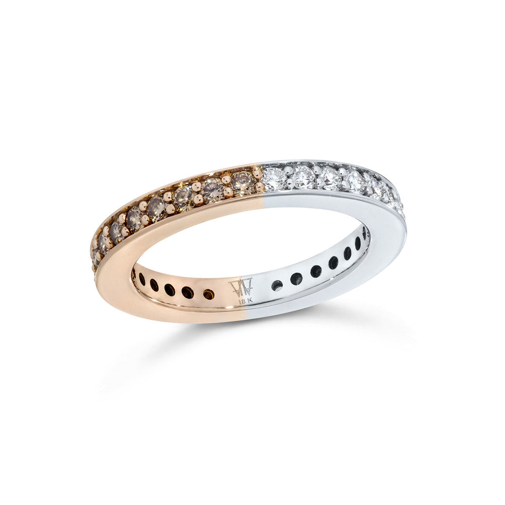GRANT TWO TONE 3MM DIAMOND CUBED BAND RING