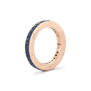 GRANT TWO TONE 3MM DIAMOND & SAPPHIRE CUBED BAND RING