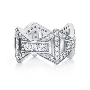 KEYNES 18K ALL DIAMOND LARGE SIGNATURE HEXAGON RING