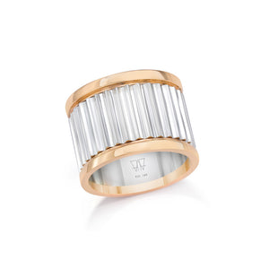 CLIVE TWO TONE 15MM FLUTED BAND RING