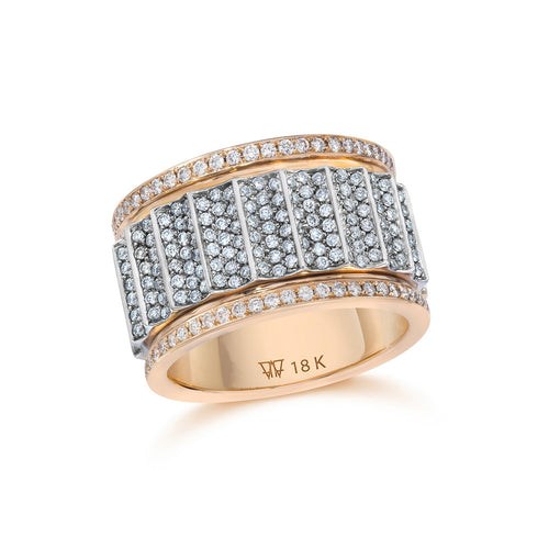 CLIVE TWO TONE ALL DIAMOND 12MM WIDE FLUTED BAND RING