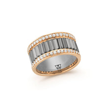 CLIVE 18K TWO TONE DIAMOND 10MM FLUTED BAND RING