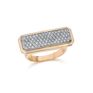 CARRINGTON TWO TONE DIAMOND ID BAR RING