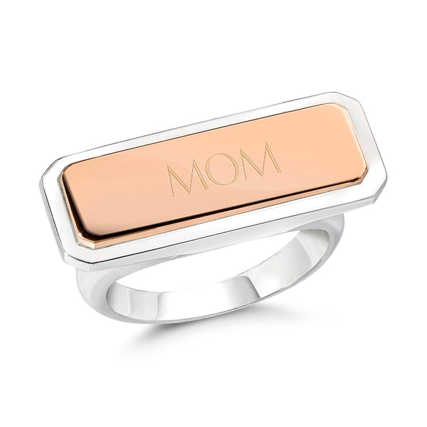 CARRINGTON TWO TONE ID BAR RING