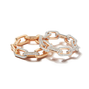 SAXON 18K LARGE ALL DIAMOND CHAIN LINK RING