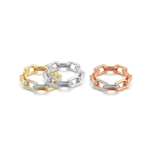 SAXON 18K LARGE DOUBLE DIAMOND CHAIN LINK RING