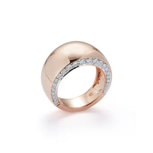 LYTTON 18K ROSE GOLD BOMBE RING WITH DIAMOND EDGES