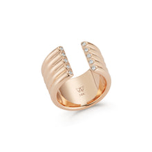 THOBY 18K GOLD AND DIAMOND 5 ROW TUBULAR CUFF RING
