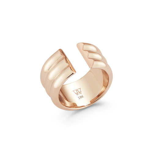 THOBY 18K 3 ROW TUBULAR CUFF RING