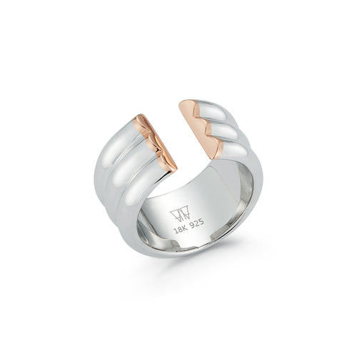 THOBY TWO TONE 3 ROW TUBULAR CUFF RING