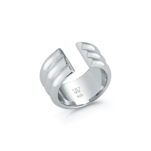 THOBY STERLING SILVER 3 ROW TUBULAR CUFF RING