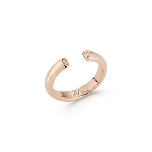 THOBY 18K AND DIAMOND TUBULAR CUFF RING