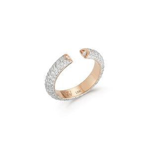 THOBY 18K ALL DIAMOND TUBULAR CUFF RING