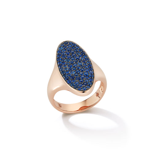 LYTTON 18K ROSE GOLD AND PAVE BLUE SAPPHIRE OVAL DISC SIGNET RING