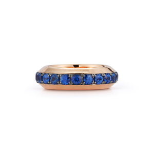 GRANT 18K ROSE GOLD AND BLUE SAPPHIRE ANGLED BAND RING