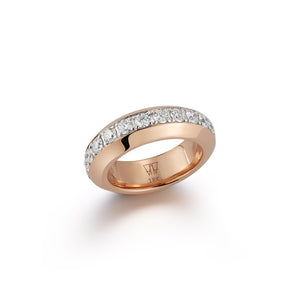 GRANT 18K ROSE GOLD AND WHITE ANGLED BAND RING