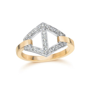KEYNES 18K TWO TONE SIGNATURE HEXAGON MOTIF DIAMOND RING