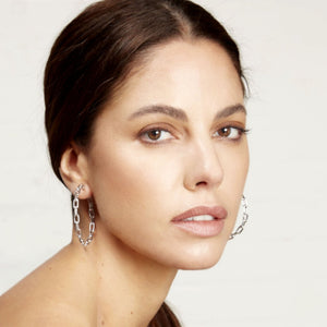 "SAXON 2"" CHAIN LINK HOOP EARRINGS"