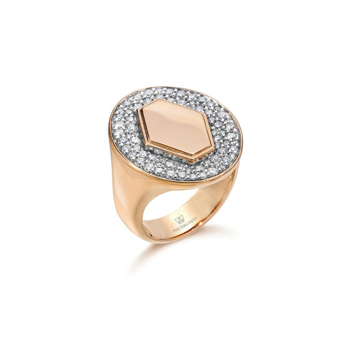 JULIAN 18K ROSE GOLD DIAMOND SIGNET RING