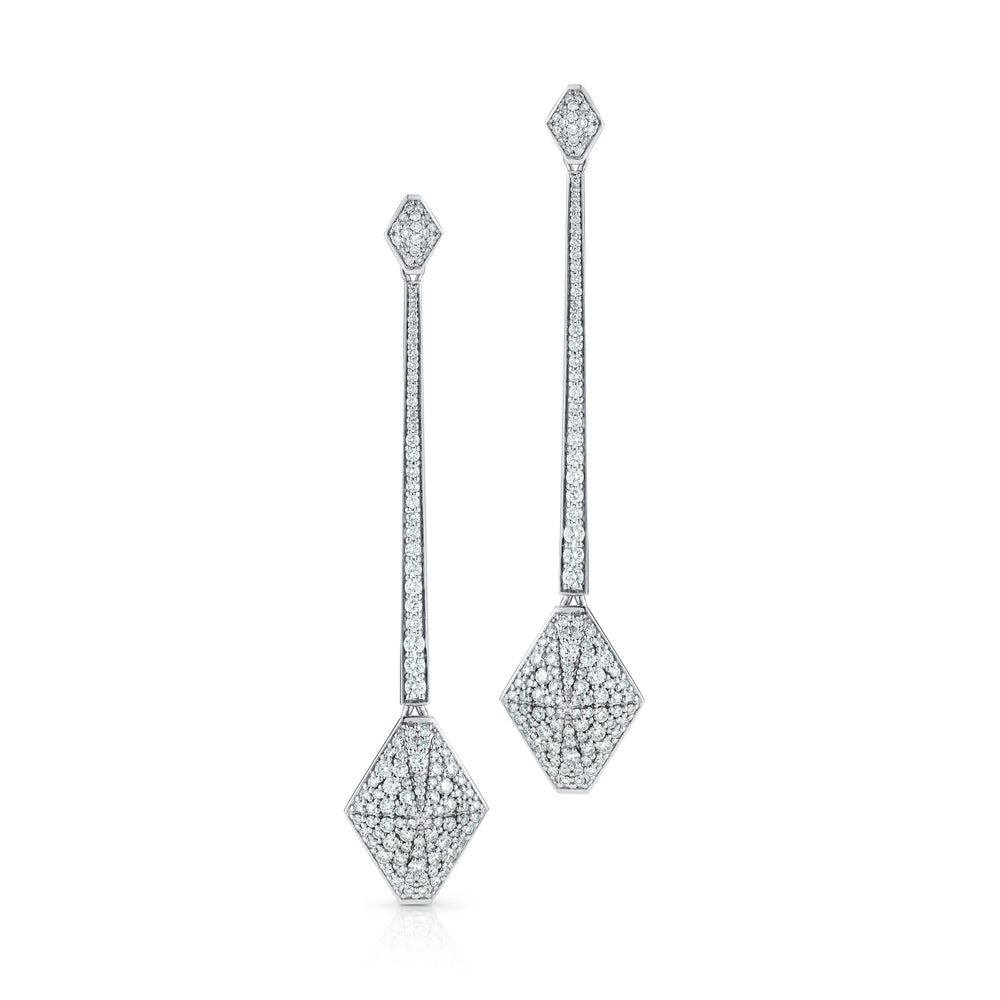 SYDNEY 18K and DIAMOND Long ORIGAMI DROP EARRINGS