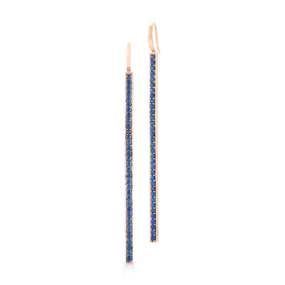 GRANT 18K BLUE SAPPHIRE BAR EARRINGS