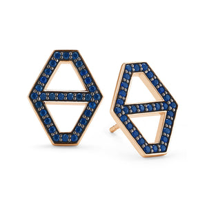 KEYNES 18K MEDIUM SIGNATURE HEXAGON SAPPHIRE STUD EARRINGS