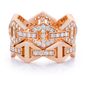 KEYNES 18K SIGNATURE DIAMOND BAR HEXAGON STACKABLE RING