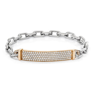 CARRINGTON 18K TWO TONE DIAMOND ID BAR BRACELET