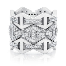 KEYNES 18K SIGNATURE ALL DIAMOND HEXAGON STACKABLE RING