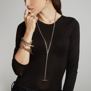 "SAXON TWO TONE 36"" CHAIN LINK TOGGLE NECKLACE"